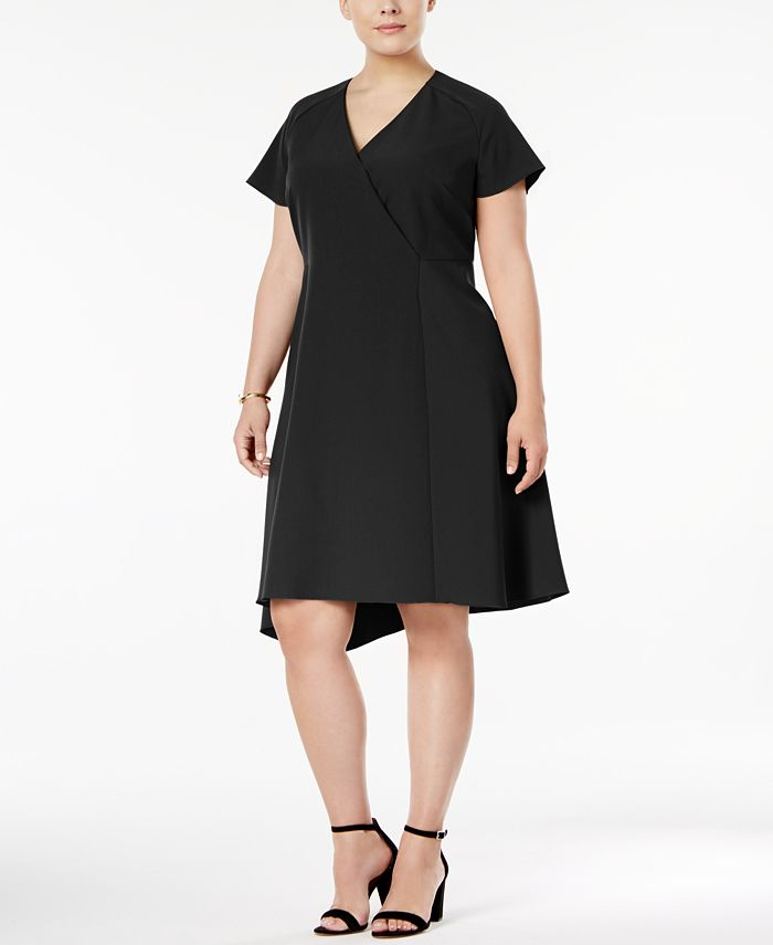 Anne Klein - Plus Size Asymmetrical-Hem Fit & Flare Dress