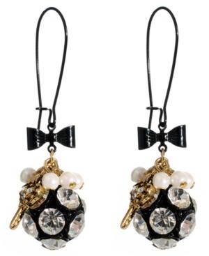 Betsey Johnson Earrings, Fireball and Key Charm Drop