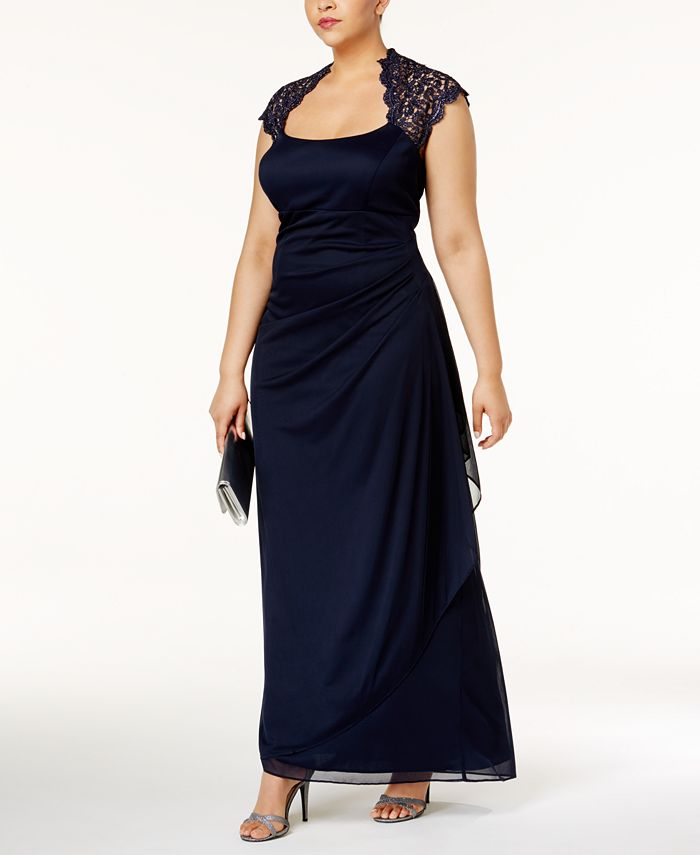XSCAPE - Ruched Lace Gown