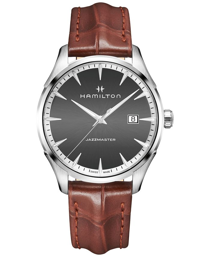 Hamilton - Men's Swiss Jazzmaster Light Brown Leather Strap Watch 40mm