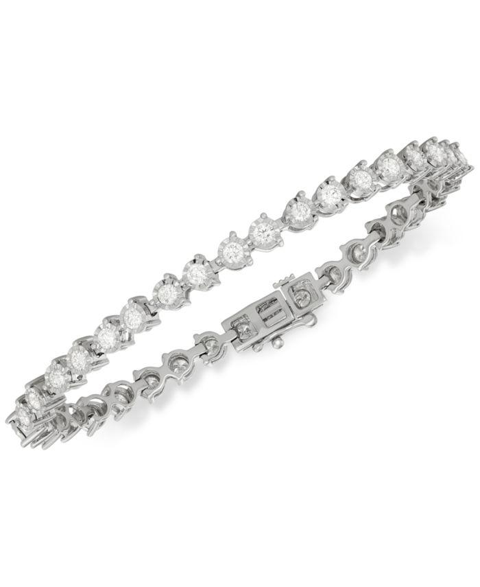 Macy's Diamond Tennis Bracelet (3 ct. t.w.) in 14k White Gold & Reviews - Bracelets - Jewelry & Watches - Macy's