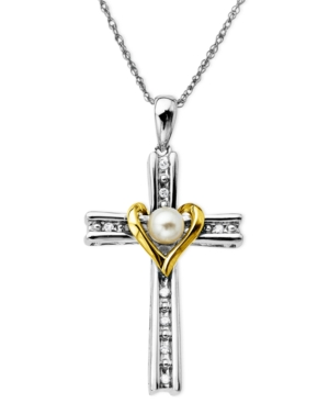 14k Gold and Sterling Silver Necklace, Cultured Freshwater Pearl and Diamond Accent Cross Pendant
