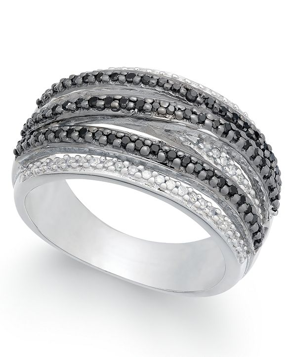 Macy's Diamond Weave-Style Statement Ring (1/2 ct. t.w.) in Sterling Silver