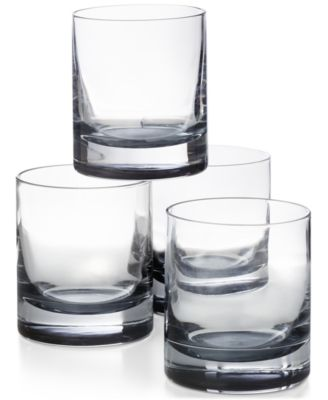 Double Old Fashioned Glasses with Gray Accent, Set of 4, Created for Macy's