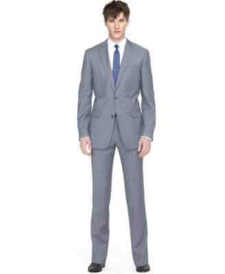 Bar III Light Grey Twill Slim-Fit Suit - Suits & Suit Separates ...