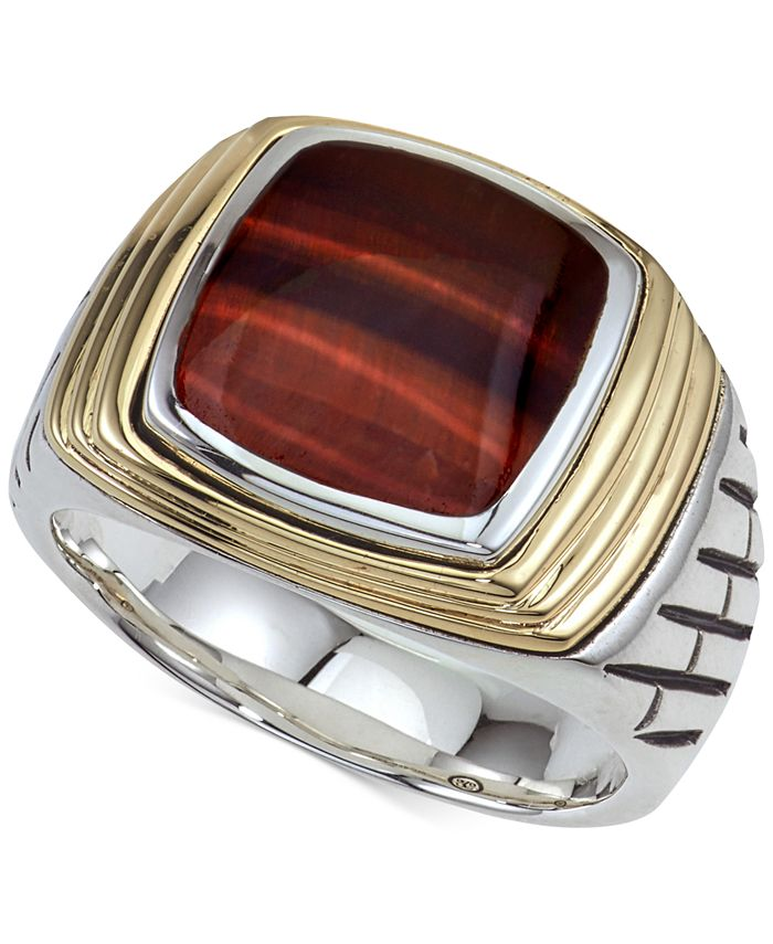 Esquire Men's Jewelry - Tiger's Eye (12 x 10mm) Two-Tone Ring in Sterling Silver & 14k Gold