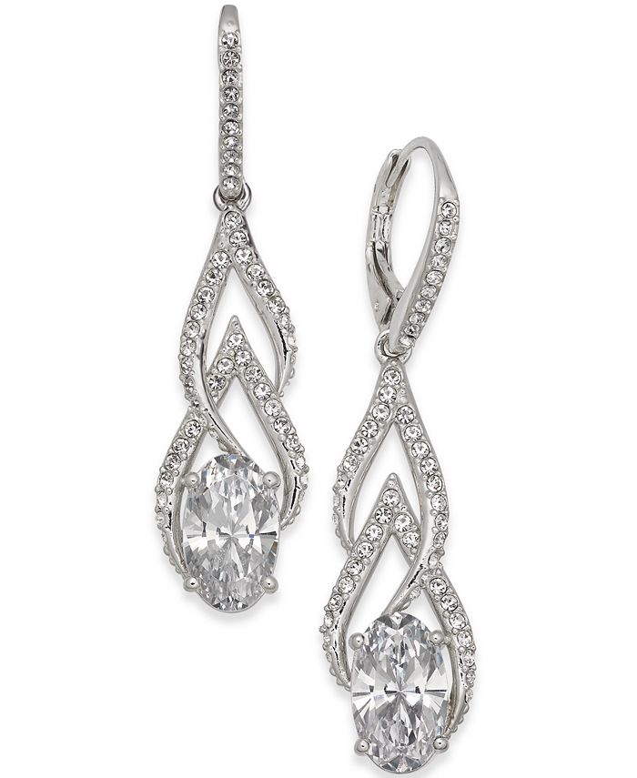 Eliot Danori - Silver-Tone Crystal & Pavé Drop Earrings