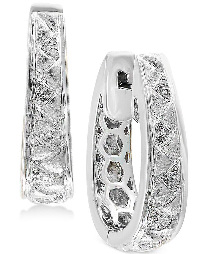 EFFY Collection - Diamond (1/8 ct. t.w.) Oval Hoop Earrings in Sterling Silver