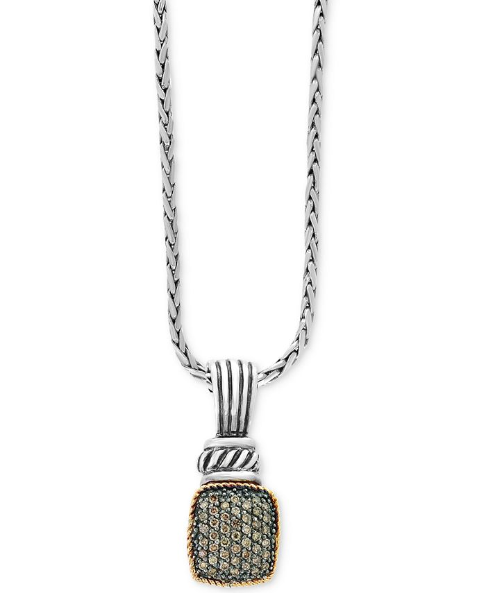 EFFY Collection - Diamond Pavé Cluster Pendant Necklace (1/3 ct. t.w.) in Sterling Silver & 18k Gold