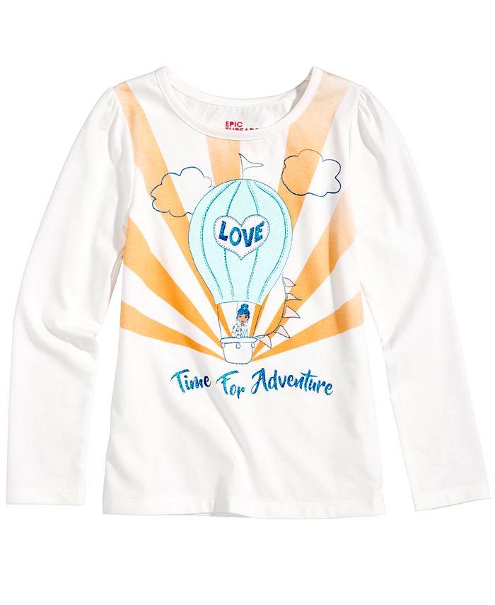 Epic Threads - Glitter-Graphic Long-Sleeve T-Shirt, Toddler & Little Girls (2T-6X)