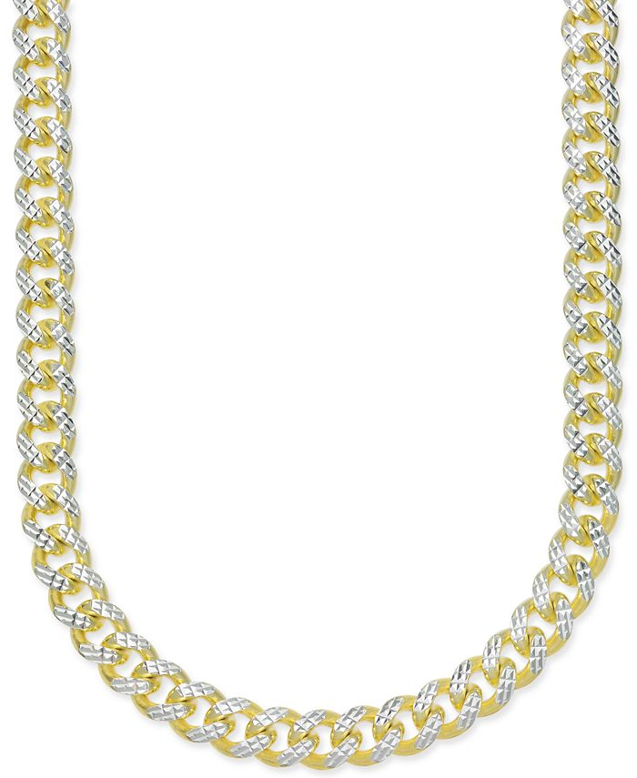 "Macy's - Men's 24"" Two-Tone Cuban Link Chain Necklace in 18k Gold-Plated Sterling Silver and Sterling Silver"