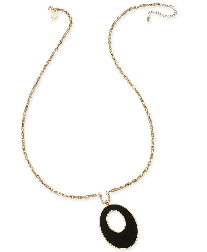 Thalia Sodi - Gold-Tone Jet Stone Oval Pendant Necklace