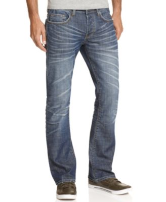 Buffalo David Bitton King Slim Bootcut Jeans Distressed Wash