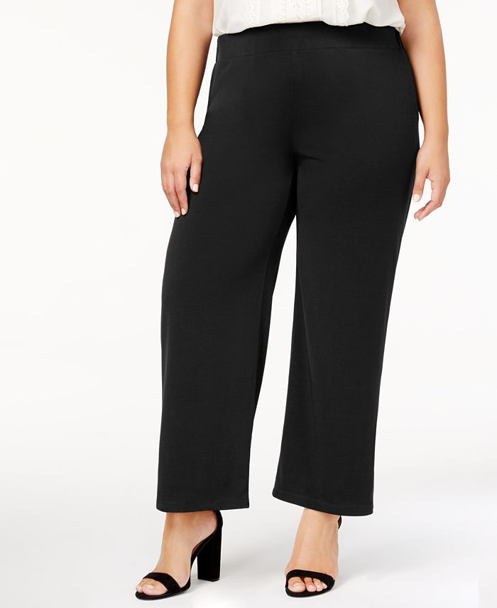 NY Collection - Petite Plus Size Pull-On Wide-Leg Pants