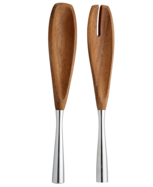 Dansk Serveware, Set of 2 Metal and Wood Servers