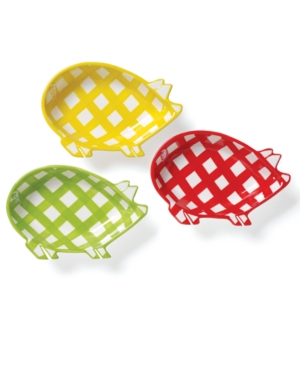 Clay Art Dinnerware, Set of 4 Gingham Barbecue Pig Dip Dishes