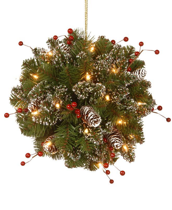 "National Tree Company 12"" Glittery Mountain Spruce Kissing Ball With Pine Cones, Berries & 35 Battery-Operated LED Lights"