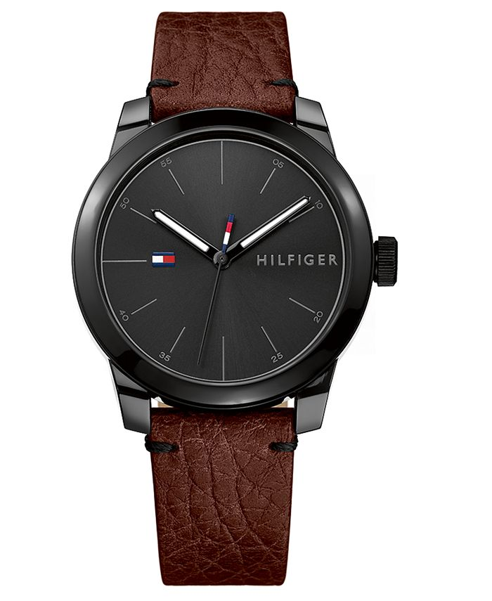 Tommy Hilfiger - Men's Brown Leather Strap Watch 42mm