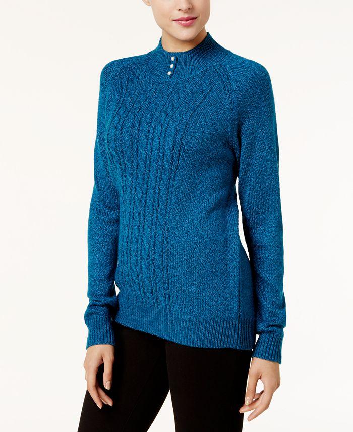 Karen Scott - Button-Trim Mock-Neck Sweater
