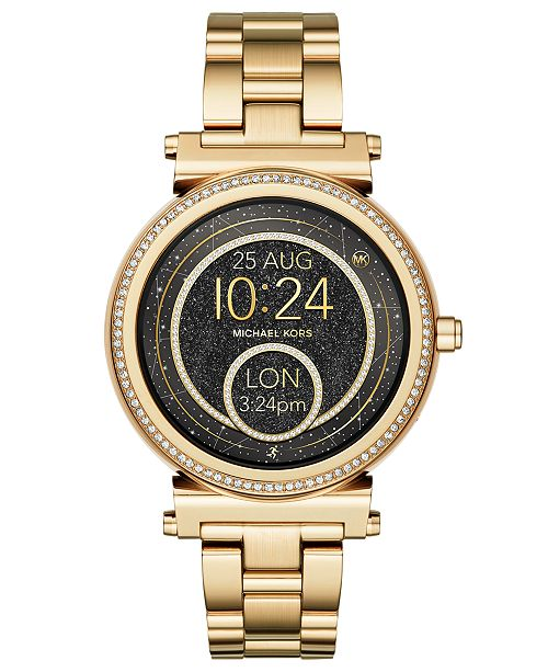 Michael Kors Access Women S Sofie Gold Tone Stainless Steel Bracelet Touchscreen Smart Watch 42mm Reviews Watches Jewelry Watches Macy S