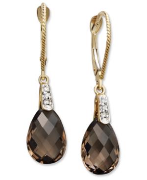 14k Gold Earrings, Smokey Quartz (5 ct. t.w.) and Diamond Accent Pear Brio Drop