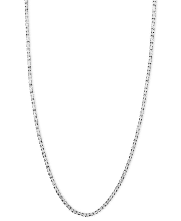 """Macy's - 14k White Gold Necklace, 18"""" Box Chain (5/8mm)."""
