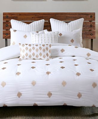 Stella 3-Pc. Embroidered-Dot Full/Queen Comforter Mini Set