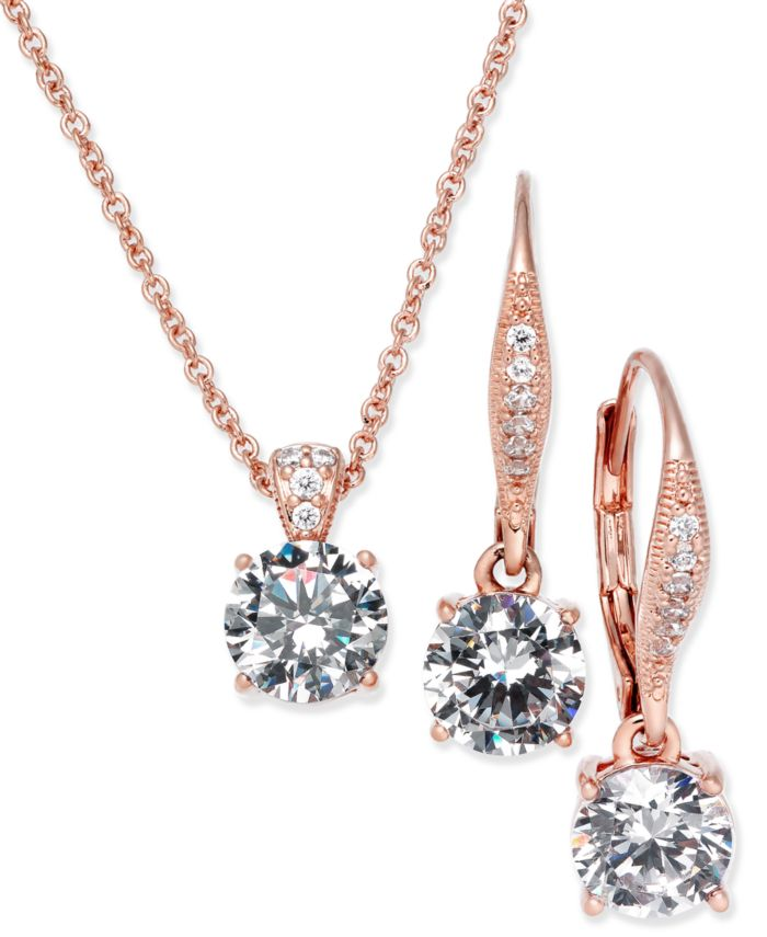 Eliot Danori Cubic Zirconia Solitaire Pendant Necklace and Matching Drop Earrings Set, Created for Macy's & Reviews - Fashion Jewelry - Jewelry & Watches - Macy's