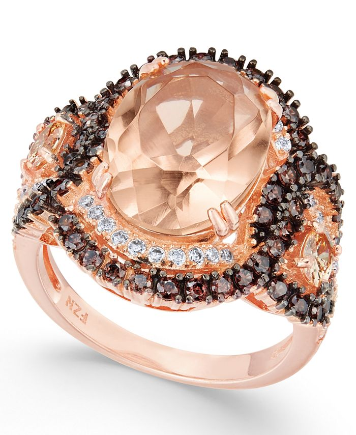 Macy's - Simulated Morganite & Cubic Zirconia Ring in 14k Rose Gold-Plated Sterling Silver