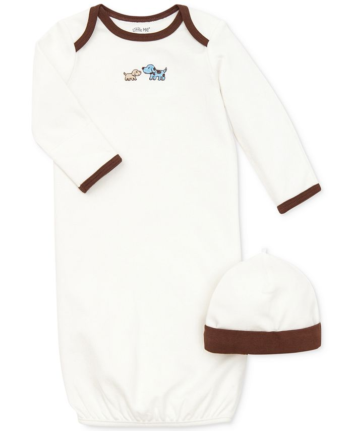 Little Me - Baby Set, Baby Boys 2-Piece Cute Puppies Gown and Hat