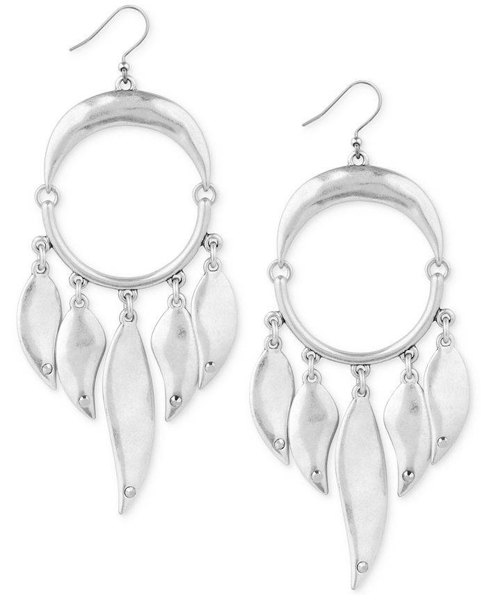Lucky Brand - Silver-Tone Circle & Paddle Drop Earrings