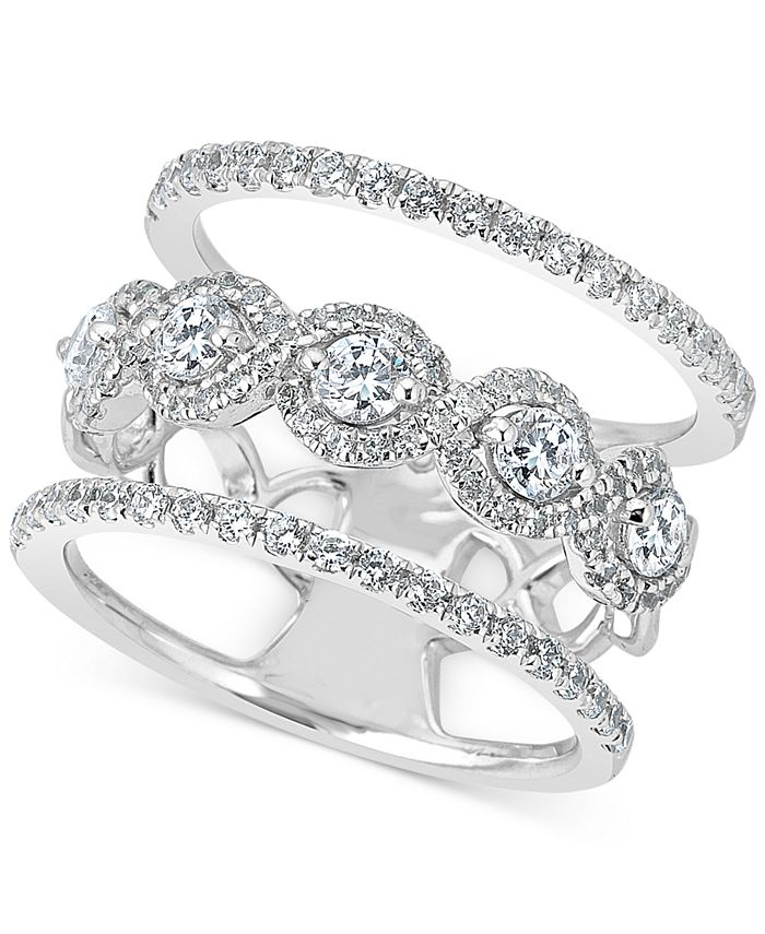 Macy's - Diamond Stack-Look Ring (1-1/4 ct. t.w.) in 14k White Gold