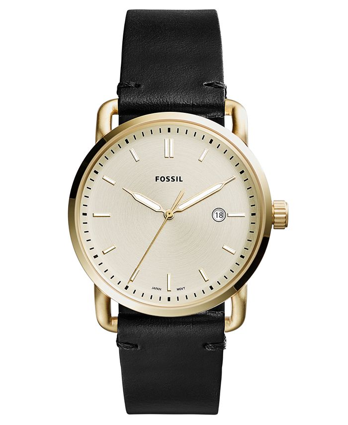 Fossil - Men's Commuter Black Leather Strap Watch 42mm