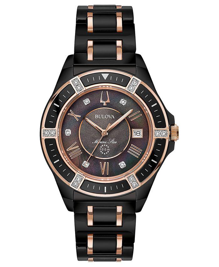 Bulova - Women's Diamond-Accent Marine Star Two-Tone Ceramic Bracelet Watch 37mm