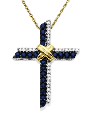 14k Gold and Sterling Silver Pendant, Sapphire (3/8 ct. t.w.) and Diamond (1/10 ct. t.w.) Cross