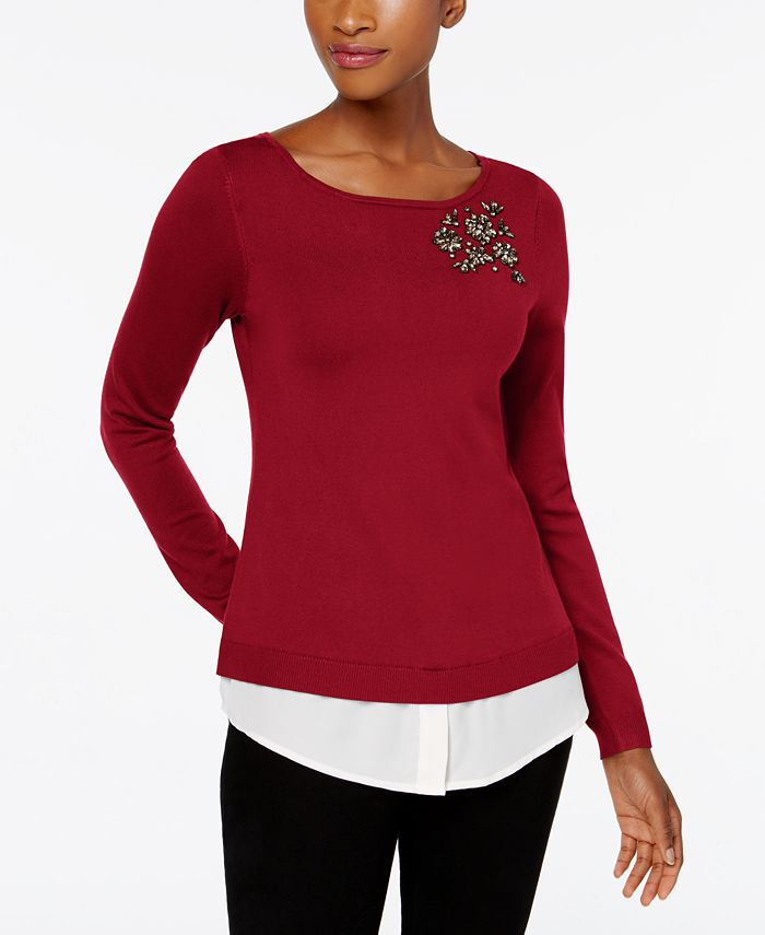 Charter Club - Layered-Look Brooch Sweater