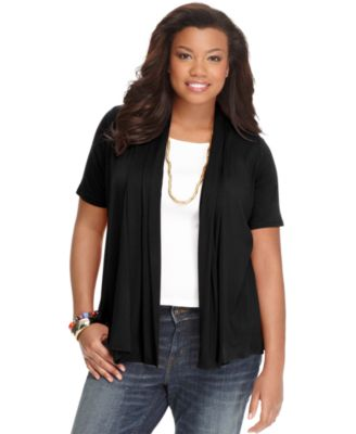 ING Plus Size Short-Sleeve Open-Front Cardigan - Tops - Plus Sizes ...