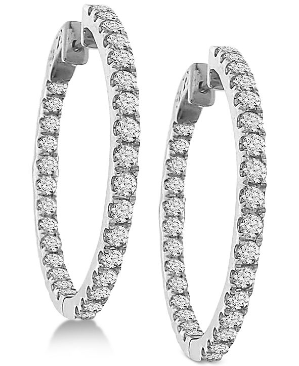 Macy's Diamond In and Out Hoop Earrings (3 ct. t.w.) in 14k White Gold