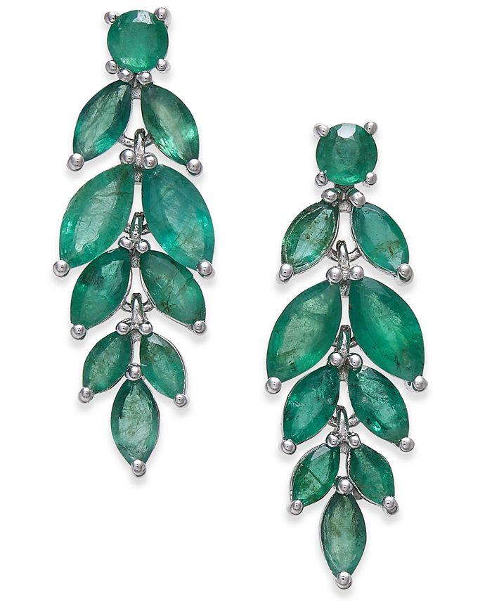 Macy's - Emerald Vine-Inspired Drop Earrings (5-1/4 ct. t.w.) in Sterling Silver