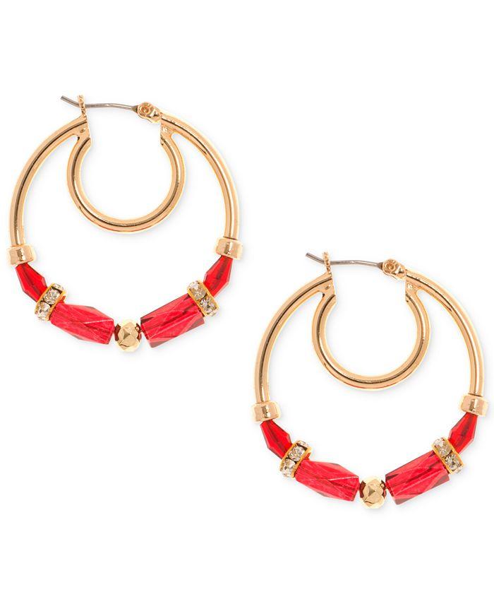Nine West - Gold-Tone Beaded Hoop Earrings