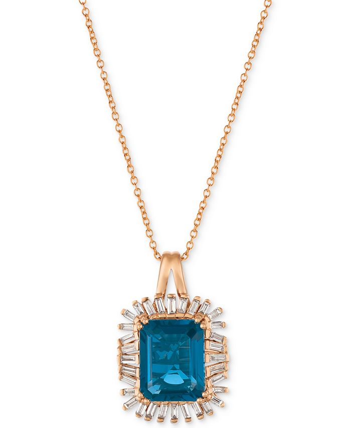 Le Vian - Deep Sea Blue Topaz™ (3-1/3 ct. t.w.) & Diamond (1/3 ct. t.w.) Pendant Necklace in 14k Rose Gold