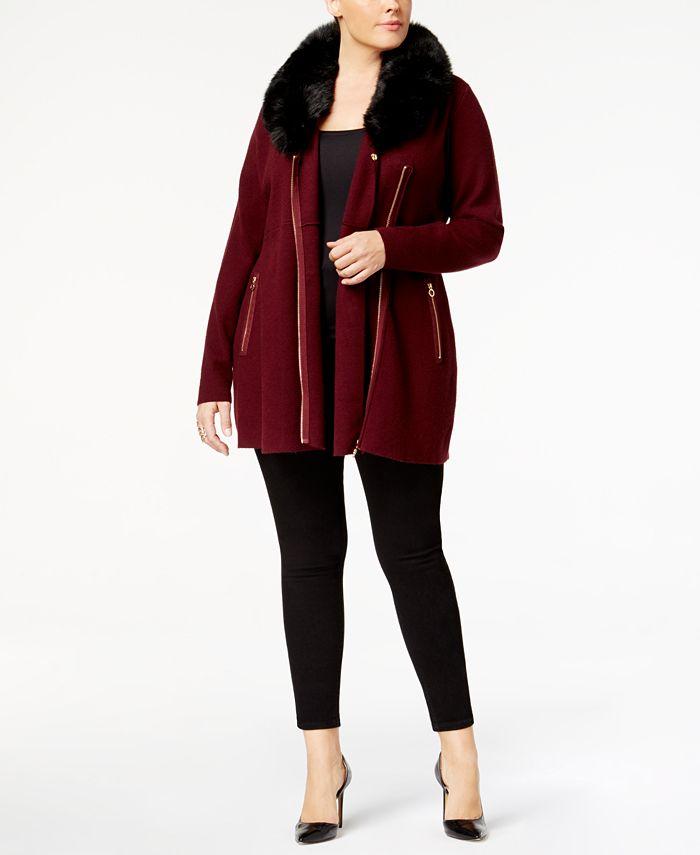 Belldini - Plus Size Faux-Fur-Trim Cardigan