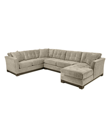 Elliot fabric microfiber 3 piece chaise sectional sofa for 3pc sectional with chaise