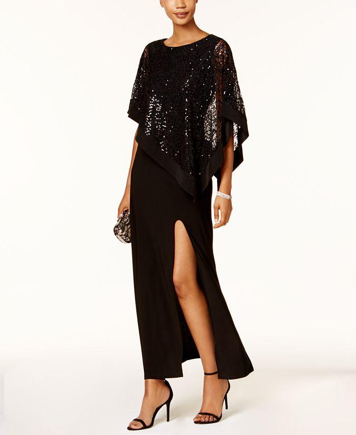 R & M Richards - Sequined Lace Cold-Shoulder Cape Gown