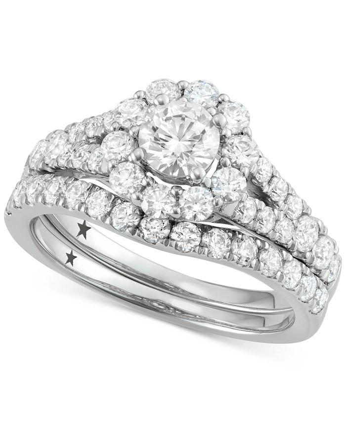Macy's Star Signature Diamond - ™ Halo Bridal Set (2 ct. t.w.) in 14k White Gold