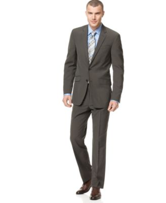 Kenneth Cole Reaction Suit, Brown Stripe Slim Fit