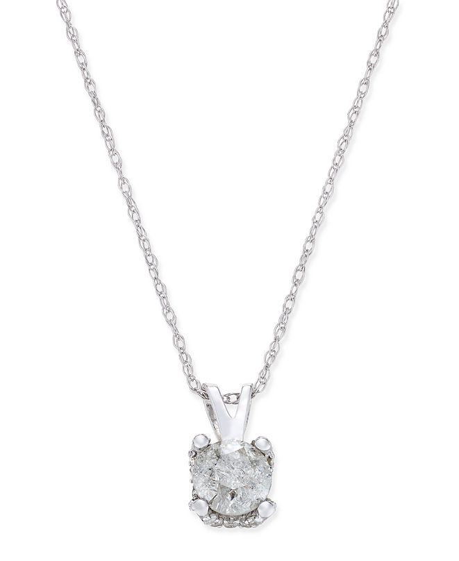 Macy's Diamond Solitaire Pendant Necklace (1/2 ct. t.w.) in 14k White Gold