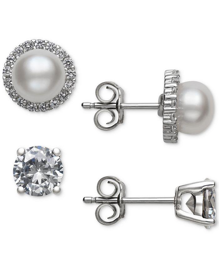 Belle de Mer - 2-Pc. Set Cultured Freshwater Pearl (6mm) & Cubic Zirconia Stud Earrings in Sterling Silver
