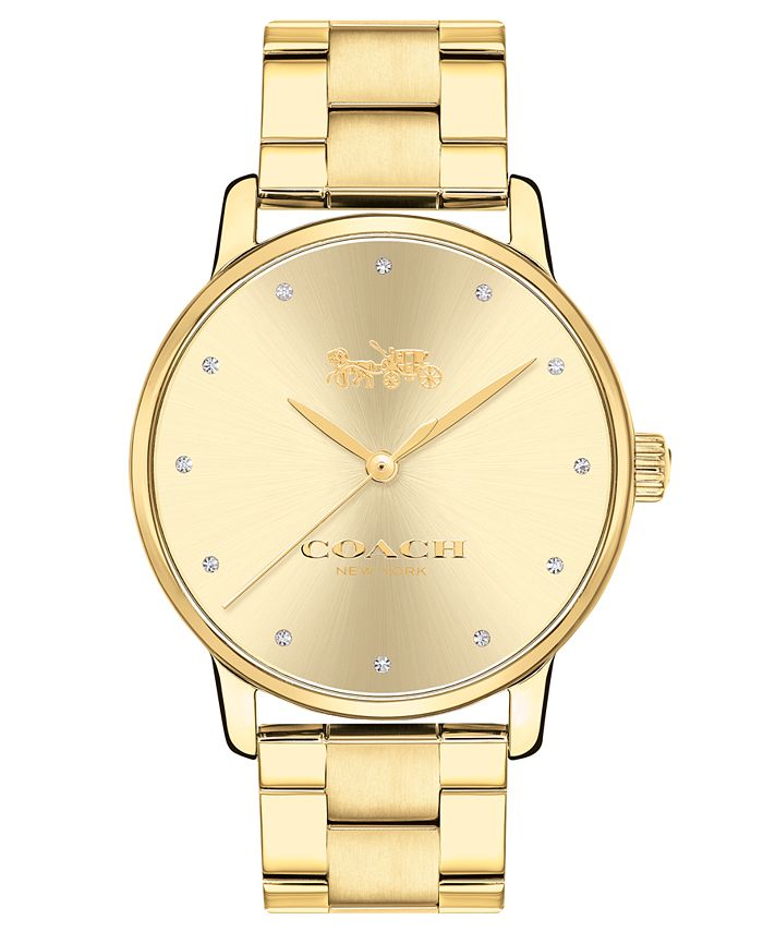 COACH - Women's Grand Gold-Tone Stainless Steel Bracelet Watch 36mm