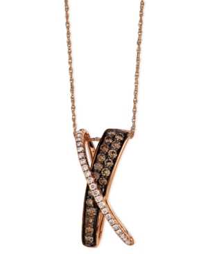 Le Vian Diamond Necklace, 14k Rose Gold Chocolate Diamond and White Diamond X Pendant (5/8 ct. t.w.)